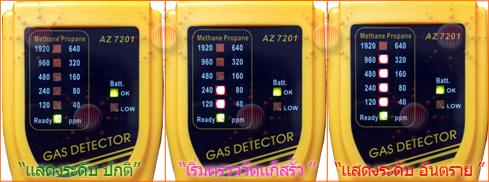แสดงระดับการวัดของ เครื่องตรวจหารอยรั่วของแก๊สไวไฟสำหรับแก๊ส NGV, LPG