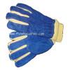 ถุงมือดับเพลิงหนัง 2 ชั้น แบบขอบรัดสีฟ้าเสริมผ้า Kevlar