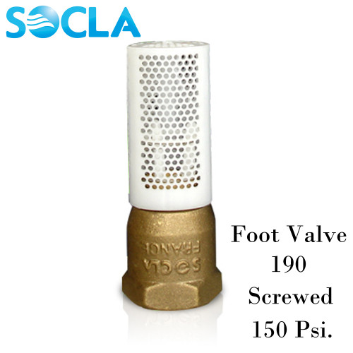 SOCLA Foot Valve 190 ,Brass Body Polyethylene Strainer ,Screwed ,150 Psi. Size 2 Inch.