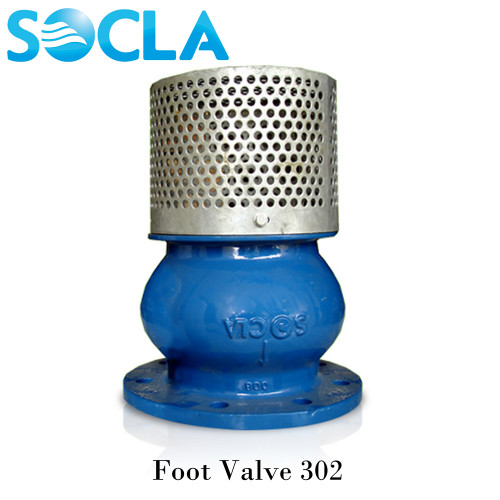 SOCLA Foot Valve 302 ,Cast Iron Body Galvanized Strainer Flanged ,PN10 Size 6 Inch.
