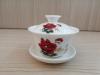 ถ้วยรินชาสีขาว ลายโบตั๋นแดง#2[99]