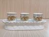 ชุดน้ำชา 3 ถ้วย สีขาว ลายมังกร (ฐานบัวสี)