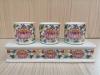 ชุดน้ำชา 3 ถ้วย สีขาว ลายบัวสี(ฐานเรียบสูง)