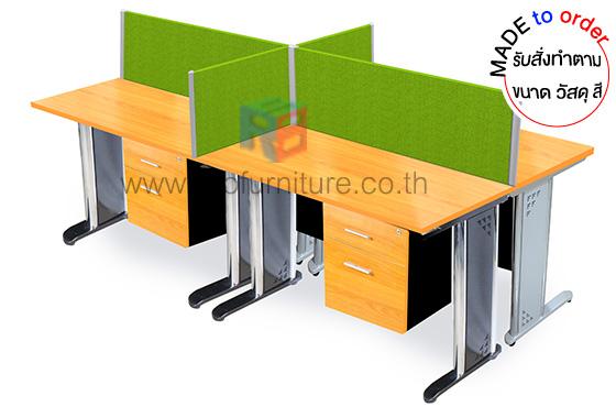 โต๊ะทำงานกลุ่ม 4 ที่นั่ง พร้อมฉากกั้นหน้าโต๊ะแบบทึบบุผ้า รหัส 2842 - คลิกที่นี่เพื่อดูรูปภาพใหญ่