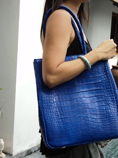 crocodile leather unisex tote in electric blue