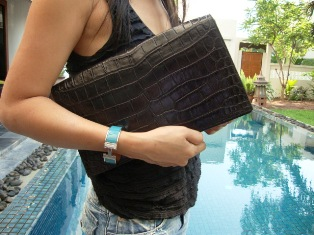 crocodile leather clutch  full flap in black