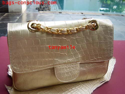 crocodile leather flap bag with double chain