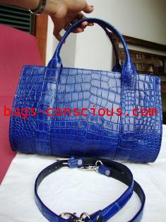 crocodile leather medium tote with double handheld