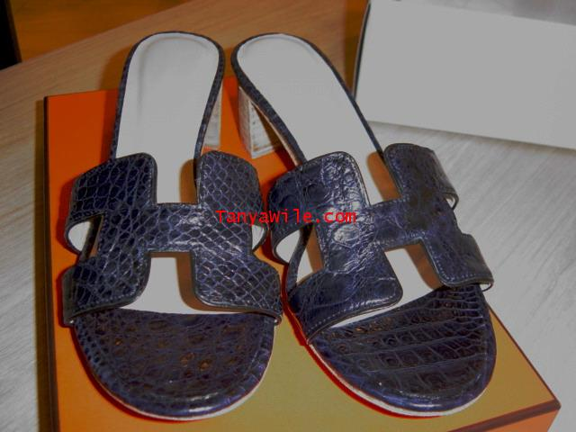 crocodile leather sandal H shape