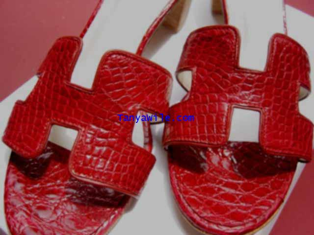 crcodile leather sandal H ashape