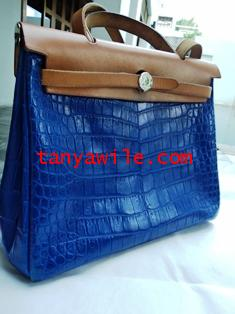 Crocodile leather interchangable bag for Hermes Her Bag30cm