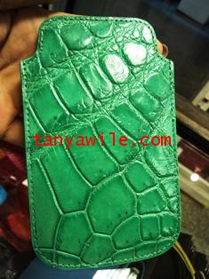 crocodile leather phone cover in green