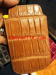 crocodile leather phone cover in brown