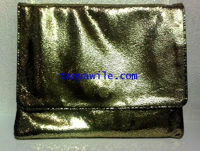 tablet case/clutch and shoulder bag/gold metallic lamb skin