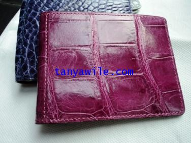 crocodile leather money clip and card holders in bright purple color