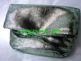 Two-in One tote and clutch light green metallic lamb skin/small