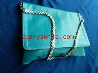 tablet case/clutch and shoulder bag/blue lamb skin