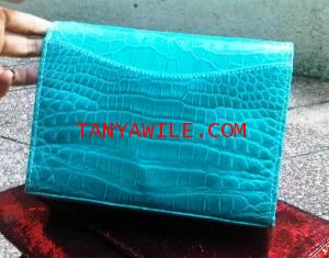 crocodile leather clutch in aquamarine