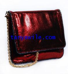 tablet case/clutch and shoulder bag/red metallic lamb skin with trimming