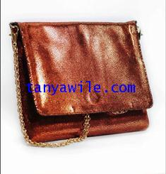 tablet case/clutch and shoulder bag/orange metallic lamb skin