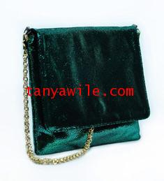 Tablet cover and clutch in emerald green metallic lamb skin