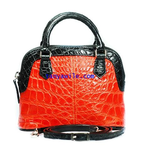 MINI crocodile leather purse in orange with black leather trim