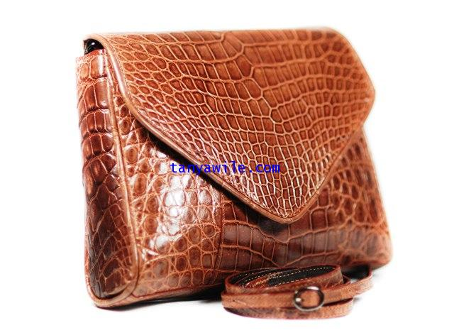 crocodile leather envelope clutch in almond colr/glazed finish