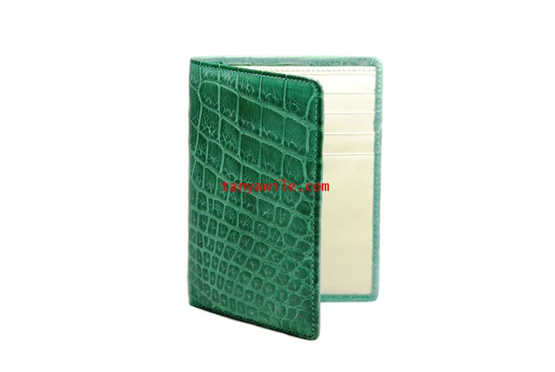 crocodile leather bi-fold wallet in dark green
