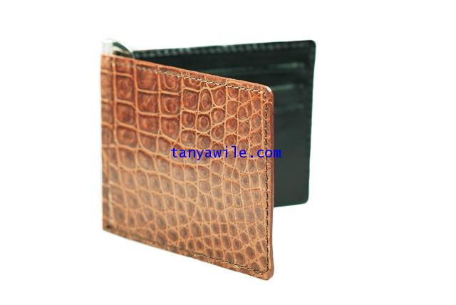 crocodile leather money clip and card holders in brown