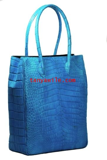crocodile leather unisex tote in turquoise