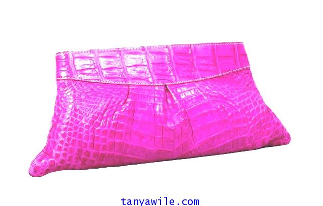 crocodile leather party clutch in pink