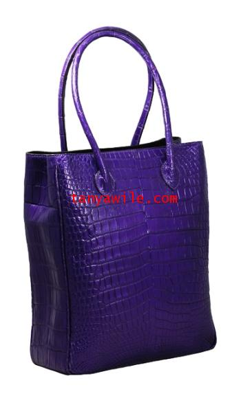 crocodile leather unisex tote in purple metallic