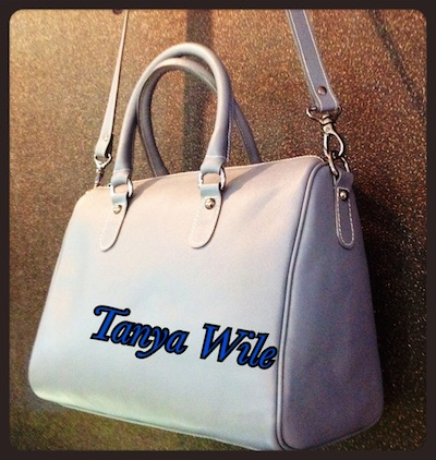 Double handle tote zip closure with leather strap in grey color