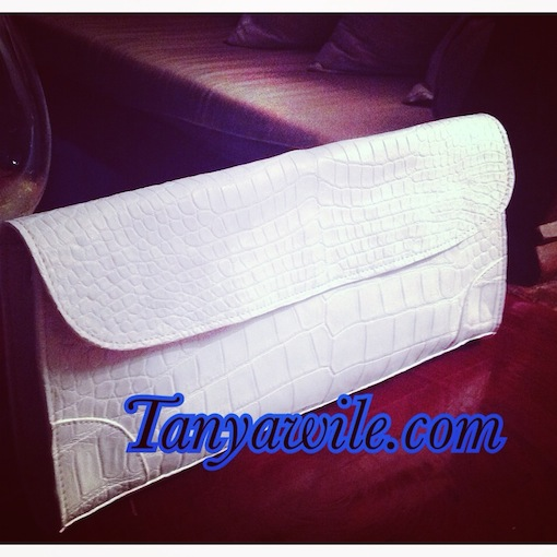 crocodile leather clutch in white matte finish