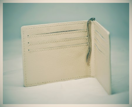 money clip and card holder in beige saffiano leather 1
