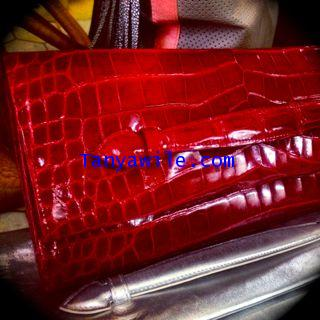 Crocodile leather ;THE CLUTCH in RED LIPSTICK Glazed finish