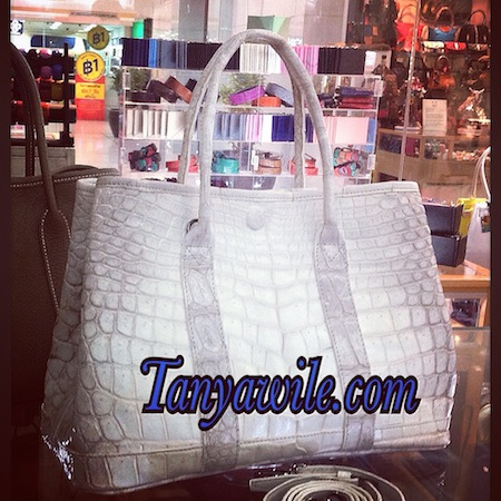 Crocodile belly double handle tote in natural color