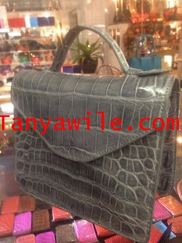 \'So Chic\' Mini top single handle bag in croc belly glazed leather graycolor