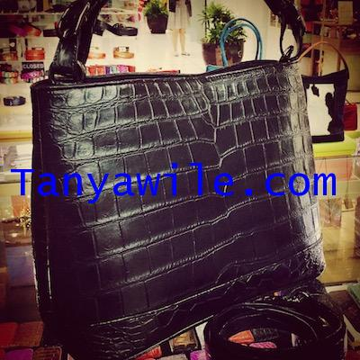Croc Belly leather shoulder bag  single handle in soft black color