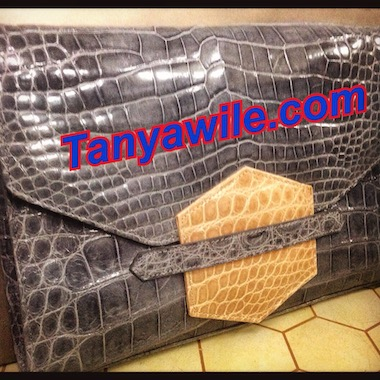 crocodile leather classic clutch with flap in Grey and beige
