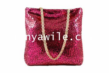 Two-in One tote and clutch ruby color soft lamb skin/SMALL