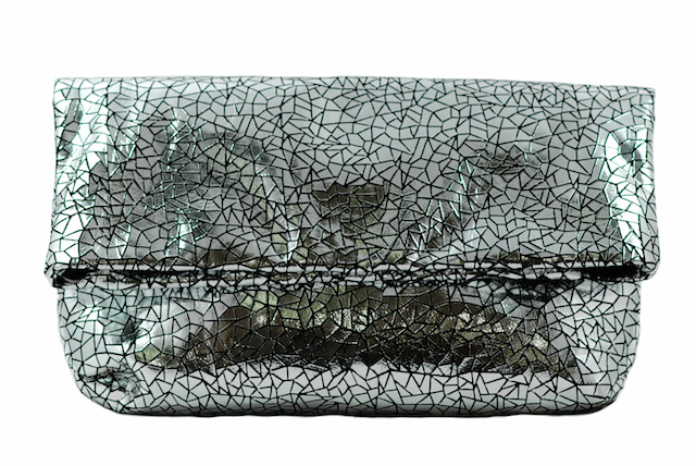 Two-in One tote and clutch silver color soft lamb skin/large