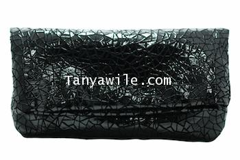 Two-in One tote and clutch black color soft lamb skin/large