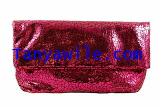 Two-in One tote and clutch ruby color soft lamb skin/large