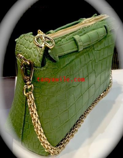 SWIFT  in croc belly in green apple color with gold tone hardware