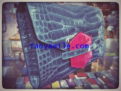 crocodile leather classic envelope clutch with flap in grey and pink
