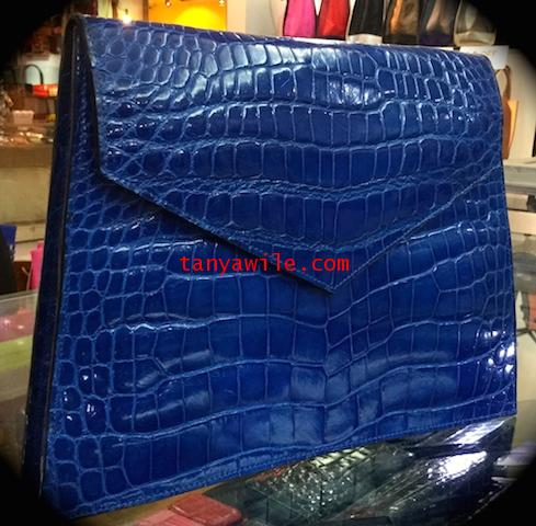 crocodile leather classic envelope clutch with flap in electric blue