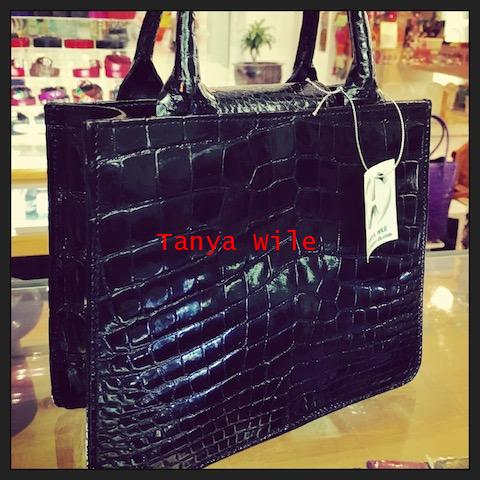 Crocodile belly double handle tote in black glazed finish