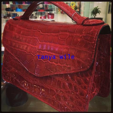 \'So Chic\' top single handle bag in croc belly glazed leather in lipstick red color
