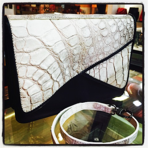 crocodile leather classic clutch with flap in Black and white